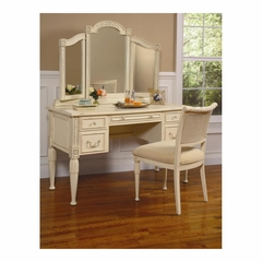 Splendor Vanity Desk, Tri-View Mirror and Chair Antique Parchment - Largo - LARGO-ST-B2500-VANITY-SET