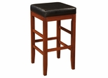 "Square Backless Bar Stool with Black Bonded Leather Seat - ""Cherry"" - Powell Furniture - 998-432"