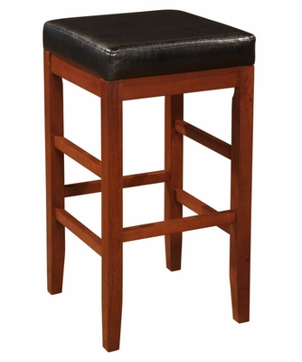 Square Backless Bar Stool with Black Bonded Leather Seat -