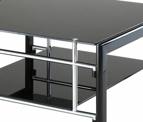 "Square Cocktail Table - ""Gloss Black"" and ""Gloss Silver"" - Powell Furniture - 629-200"