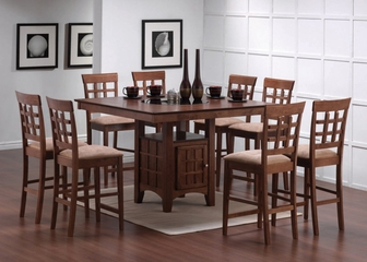 Square Counter Table and Stool Set 1 in Walnut - Coaster