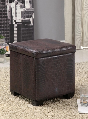 Square Dark Brown Storage Ottoman - 501082