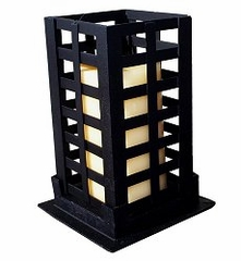 "Square Pillar - Large 9"" - Black - Pangaea Home and Garden Furniture - FM-C4271L-K"