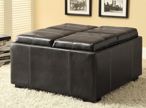 Square Storage Ottoman in Dark Brown - 500876