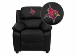 St. John Fisher College Cardinals Embroidered Black Leather Kids Recliner - BT-7985-KID-BK-LEA-41073-EMB-GG