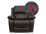St. John Fisher College Cardinals Leather Rocker Recliner - MEN-DA3439-91-BRN-41073-EMB-GG