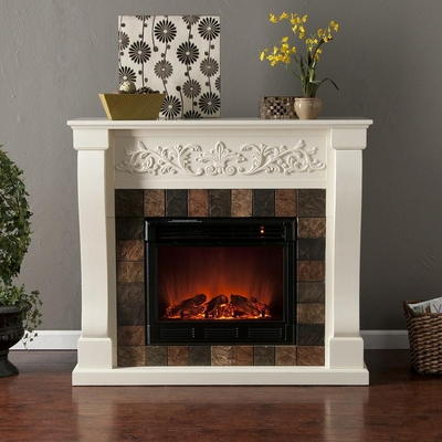 St. Lawrence Ivory Electric Fireplace - Holly and Martin