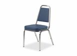 Stacking Chair - Blue/Chrome Frame 4 Count- LLR62506