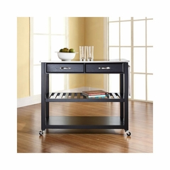 Stainless Steel Top Black Kitchen Cart / Island - Optional Stool Storage - CROSLEY-KF30052BK