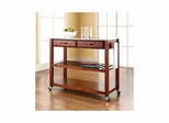 Stainless Steel Top Classic Cherry Kitchen Cart / Island - Optional Stool Storage - CROSLEY-KF30052CH