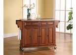 Stainless Steel Top Kitchen Cart/Island in Classic Cherry Finish - Crosley Furniture - KF30002ECH