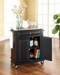 Stainless Steel Top Portable Kitchen Cart/Island in Black - CROSLEY-KF30022EBK