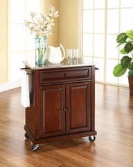 Stainless Steel Top Portable Kitchen Cart/Island in Vintage Mahogany - CROSLEY-KF30022EMA