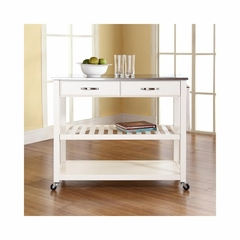 Stainless Steel Top White Kitchen Cart / Island - Optional Stool Storage - CROSLEY-KF30052WH