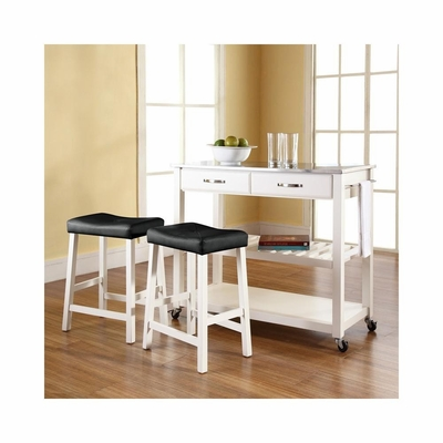 Stainless Steel Top White Kitchen Cart / Island with 24