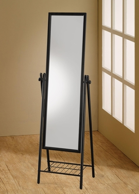 Standing Black Cheval Mirror with Shelf - 900676