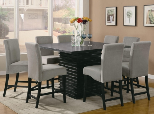 Stanton 9-Piece Counter Height Table Set in Rich Black / Gray - Coaster - 102068-69GRY-DSET