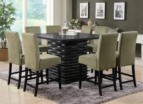 Stanton 9-Piece Counter Height Table Set in Rich Black / Green - Coaster - 102068-69GRN-DSET