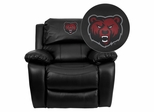 State University of New York at Potsdam Bears Embroidered Black Leather Rocker Recliner  - MEN-DA3439-91-BK-41074-EMB-GG