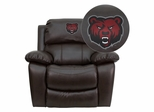 State University of New York at Potsdam Bears Embroidered Brown Leather Rocker Recliner  - MEN-DA3439-91-BRN-41074-EMB-GG
