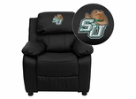 Stetson University Hatters Embroidered Black Leather Kids Recliner - BT-7985-KID-BK-LEA-41075-A-EMB-GG
