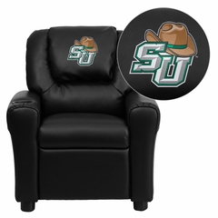 Stetson University Hatters Embroidered Black Vinyl Kids Recliner - DG-ULT-KID-BK-41075-A-EMB-GG