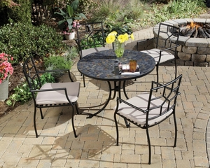 Stone Harbor Outdoor Table and 4 Cambria Arm Chairs - Home Styles - 5601-3082