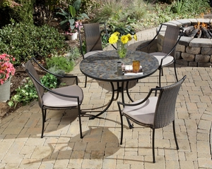 Stone Harbor Outdoor Table and 4 Laguna Dining Arm Chairs - Home Styles - 5601-3080