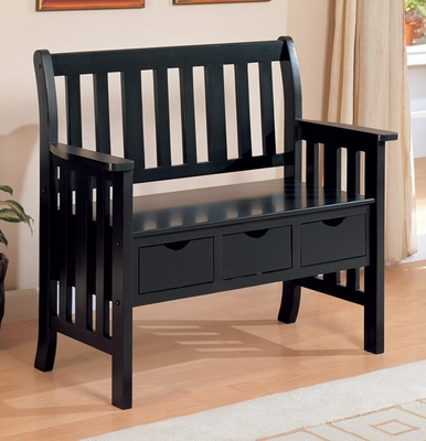 Storage Bench in Black - Coaster - 300085