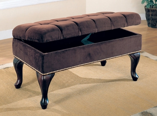 Storage Bench in Dark Brown - Coaster - 300095