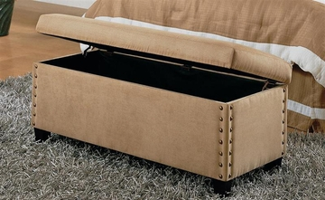 Storage Bench in Tan Microfiber - Coaster - 300368