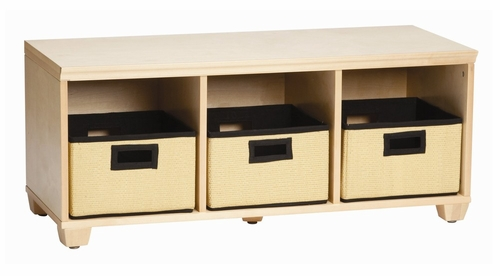 Storage Bench with Black Storage Baskets in Natural - Links - Alaterre - AB31012BLK