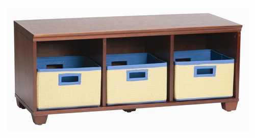 Storage Bench with Blue Storage Baskets in Cherry - Links - Alaterre - AB31016BLU