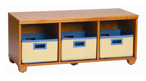 Storage Bench with Blue Storage Baskets in Honey - Links - Alaterre - AB3101YBLU