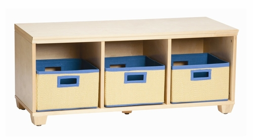 Storage Bench with Blue Storage Baskets in Natural - Links - Alaterre - AB31012BLU