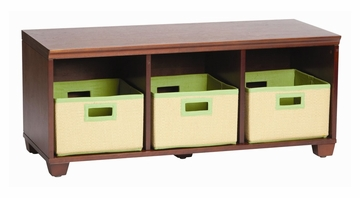 Storage Bench with Lime Storage Baskets in Cherry - Links - Alaterre - AB31016LIM