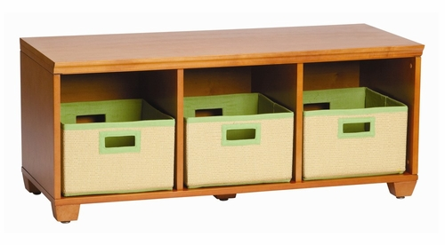 Storage Bench with Lime Storage Baskets in Honey - Links - Alaterre - AB3101YLIM