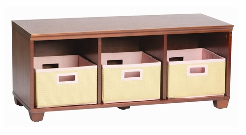 Storage Bench with Pink Storage Baskets in Cherry - Links - Alaterre - AB31016PIN