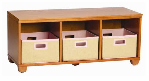 Storage Bench with Pink Storage Baskets in Honey - Links - Alaterre - AB3101YPIN