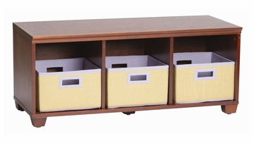 Storage Bench with Purple Storage Baskets in Cherry - Links - Alaterre - AB31016PUR