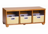 Storage Bench with Purple Storage Baskets in Honey - Links - Alaterre - AB3101YPUR