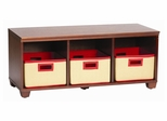 Storage Bench with Red Storage Baskets in Cherry - Links - Alaterre - AB31016RED