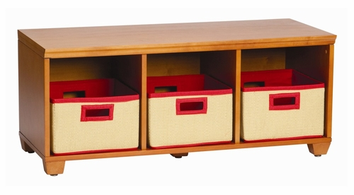Storage Bench with Red Storage Baskets in Honey - Links - Alaterre - AB3101YRED