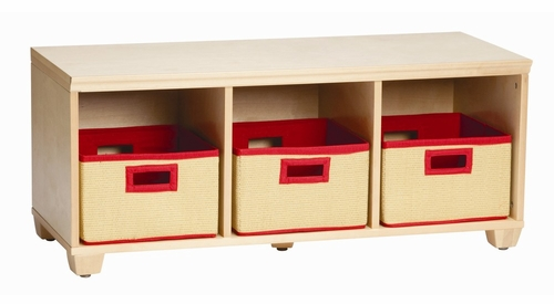 Storage Bench with Red Storage Baskets in Natural - Links - Alaterre - AB31012RED