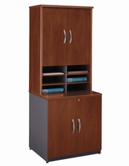 Storage Cabinet and Hutch Set - Series C Hansen Cherry Collection - Bush Office Furniture - WC24496A-97
