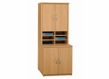Storage Cabinet and Hutch Set - Series C Light Oak Collection - Bush Office Furniture - WC60396A-97