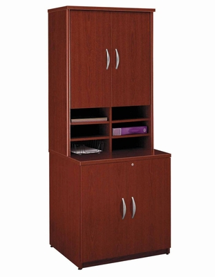 Storage Cabinet and Hutch Set - Series C Mahogany Collection - Bush Office Furniture - WC36796A-97