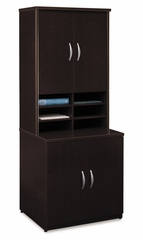 Storage Cabinet and Hutch Set - Series C Mocha Cherry Collection - Bush Office Furniture - WC12996A-97