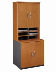 Storage Cabinet and Hutch Set - Series C Natural Cherry Collection - Bush Office Furniture - WC72496A-97