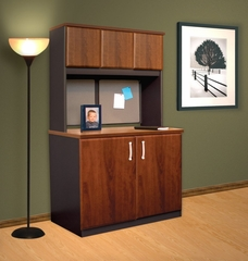 Storage Cabinet with Hutch in Cornerstone Cherry / Pumice - ProFlex - O'Sullivan Office Furniture - 12006